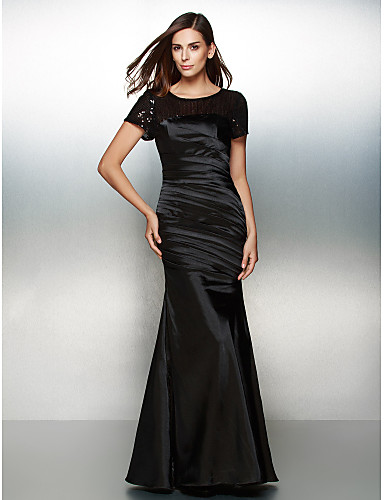 Mermaid / Trumpet Scoop Neck Floor Length Satin Sparkle & Shine Formal Evening Dress with Sequin / Side Draping by TS Couture®
