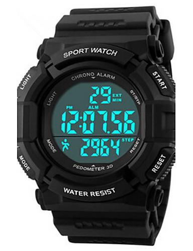 Erkek Dijital Bilek Saati Spor Saat Alarm Takvim Kronograf Su Resisdansı Spor Saat LED PU Bant İhtişam Siyah