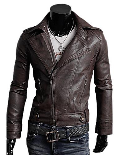 férfi faux bőr kabát felső, öv nem tartozék, hajtóka gallér hosszú ujjú