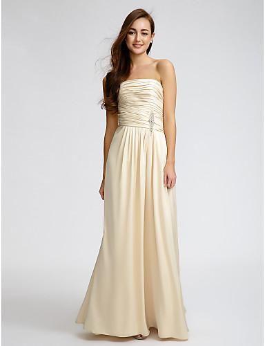 Sütun Straplez Yere Kadar Saten Kristal Detaylar Haç ile Nedime Elbisesi tarafından LAN TING BRIDE®