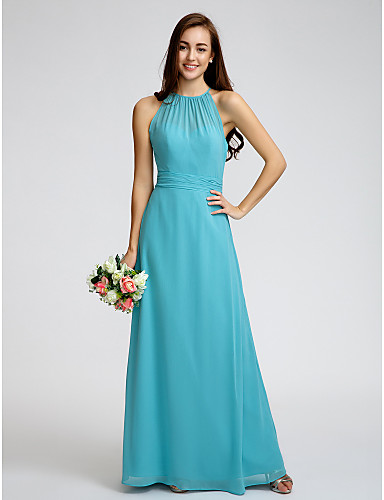 Sheath / Column Jewel Neck Ankle Length Georgette Bridesmaid Dress with Ruched by LAN TING BRIDE®
