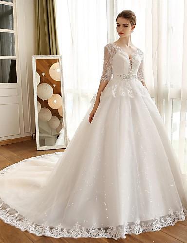 볼 드레스 웨딩 드레스 채플 트레인 V-넥 레이스 / 새틴 / 튤 와 아플리케 / 레이스
