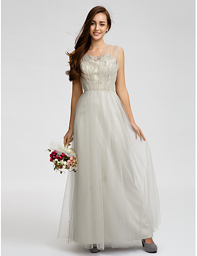 Sheath / Column Straps Knee Length Tulle Bridesmaid Dress with Lace by LAN TING BRIDE®