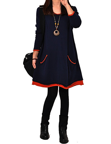 Women's Solid / Patchwork Blue / Black Thick Loose Thin Dress , Cute / Plus Sizes Round Neck Long Sleeve