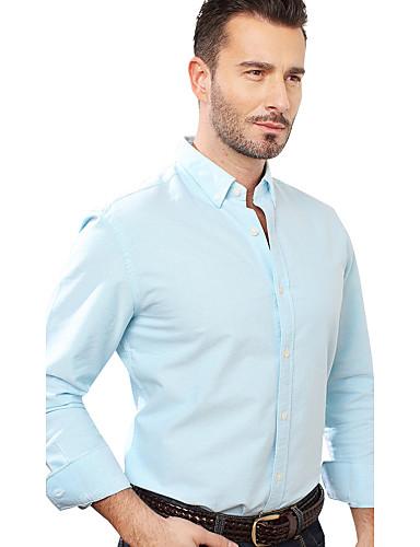 JamesEarl Masculino Colarinho de Camisa Manga Comprida Shirt & Blusa Azul - M81XF000873