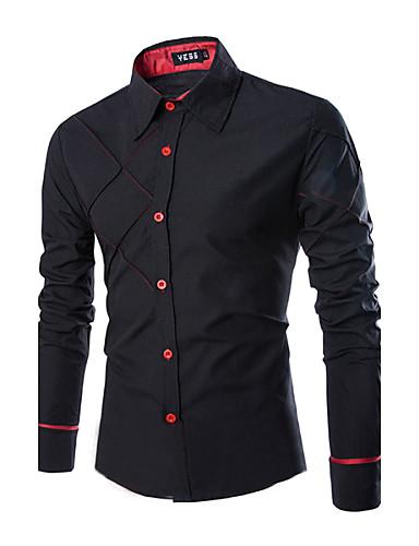 Men's Business Plus Size Cotton Slim Shirt - Solid Classic Collar