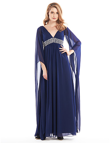 A-Line V Neck Ankle Length Chiffon Mother of the Bride Dress with Beading / Side Draping by LAN TING BRIDE®