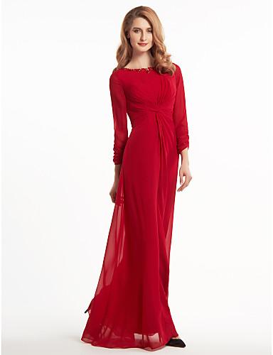 Ίσια Γραμμή Scoop Neck Μακρύ Σιφόν Φόρεμα Μητέρας της Νύφης - Χάντρες Χιαστί με LAN TING BRIDE®