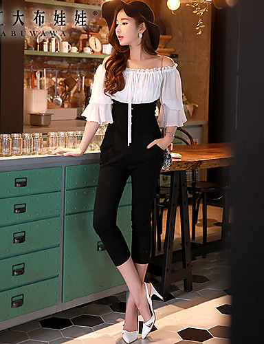 Women's Patchwork Black Jumpsuits , Work / Casual / Day Boat Neck ¾ Sleeve