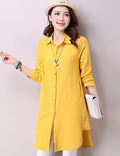 Mulheres Camisa Casual Simples Primavera,Sólido Azul / Rosa / Amarelo Algodão / Linho Colarinho de Camisa Manga Longa Média
