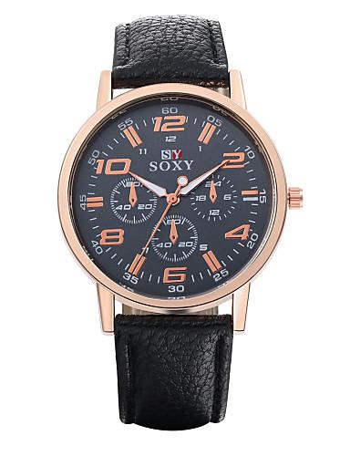 Homens Relógio Elegante Relógio de Moda Quartzo / Relógio Casual Couro Banda Vintage Casual Preta Branco Marrom