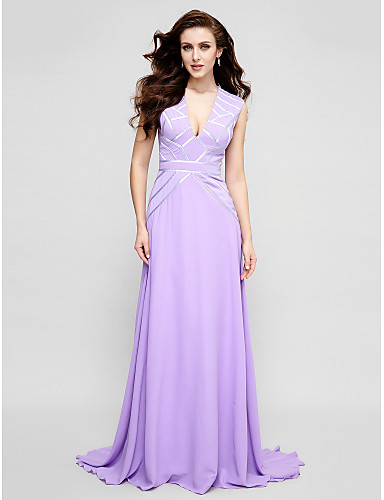 A-Line V-neck Sweep / Brush Train Chiffon Prom Formal Evening Dress with Sash / Ribbon Pleats by TS Couture®