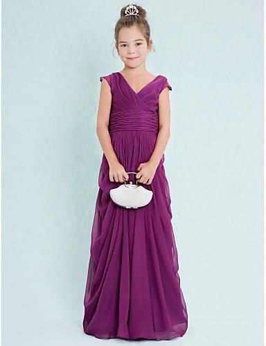 Sheath / Column V-neck Floor Length Chiffon Junior Bridesmaid Dress with Draping Criss Cross Ruching by LAN TING BRIDE®