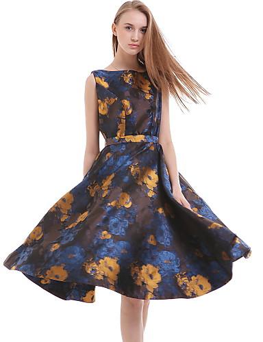 여성의 캐쥬얼 칼집 드레스 프린트 무릎 위 라운드 넥 면 / 폴리에스테르