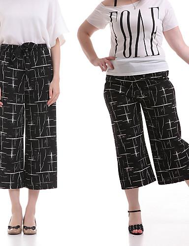 Feminino Cintura Média Sem Elasticidade Perna larga Jeans Calças,Estampado Poliéster Primavera