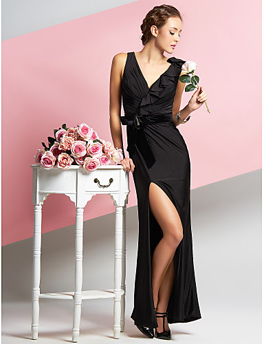 Sheath / Column V Neck Ankle Length Chiffon Velvet Jersey Prom Formal Evening Dress with Side Draping by TS Couture®