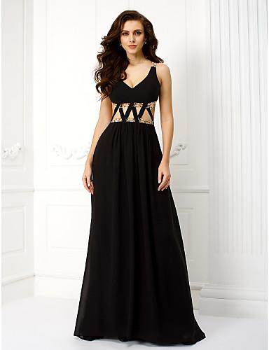 Sütun V-Yaka Yere Kadar Şifon Bandajlar ile Balo Resmi Akşam Elbise tarafından TS Couture®