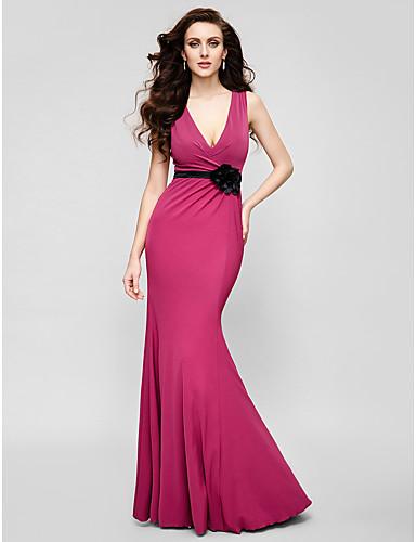 Trompete / Meerjungfrau V-Ausschnitt Boden-Länge Jersey Cocktailparty / Abiball / Formeller Abend Kleid mit Blume durch TS Couture®