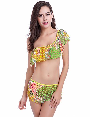 פרחוני, קפלים - טנקיני סירה מתחת לכתפיים בגדי ריקוד נשים