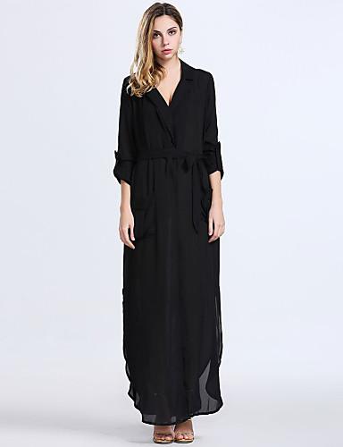 Bayanlar Salaş İş / Günlük Elbise Solid Maksi Derin V Pamuklu / Polyester / Naylon