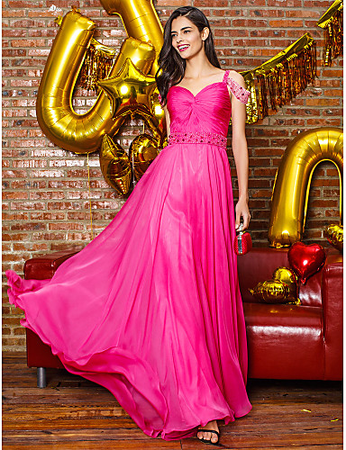 Sheath / Column Straps Sweep / Brush Train Chiffon Prom / Formal Evening Dress with Beading Side Draping by TS Couture®