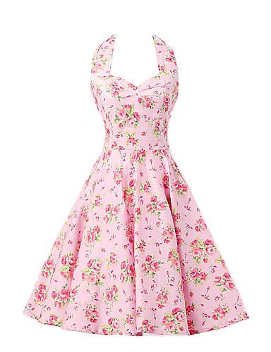 여성용 A 라인 드레스 - 플로럴, 리본 홀터 넥