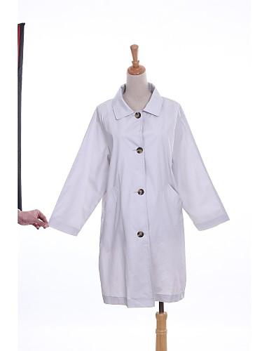 Mulheres Casaco Trench Casual Simples Inverno,Sólido Cinza Algodão / PoliésterManga Longa