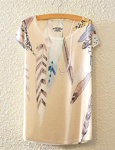 Bomull T-skjorte Dame - Blomstret, Blomst Søtt Aktiv