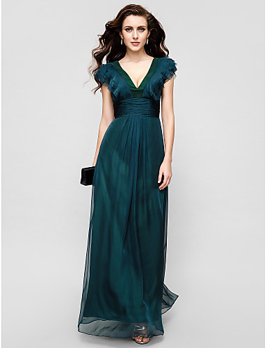 A-Line V Neck Floor Length Chiffon Formal Evening / Military Ball Dress with Draping Ruched Ruffles by TS Couture®