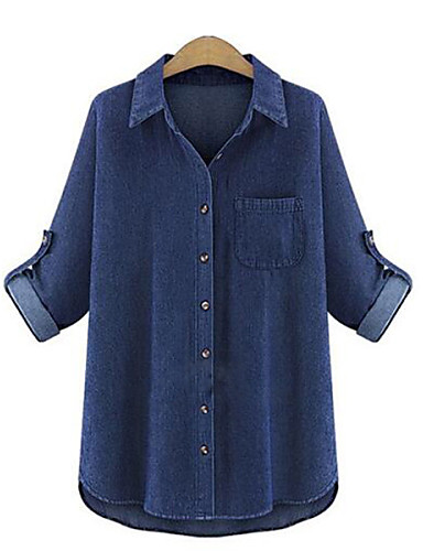 abordables Camisas y Camisetas para Mujer-Mujer Básico Festivos Tallas Grandes Camisa, Cuello Camisero Un Color Azul Oscuro XXXL