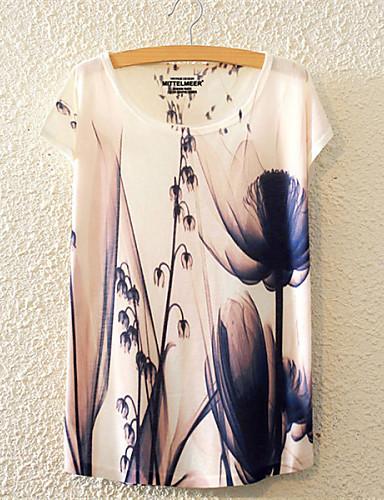 Naisten Puuvilla Kukka Kukka Sievä Aktiivinen T-paita