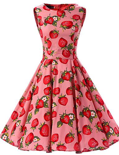 Mulheres Para Noite Vintage Algodão balanço Vestido Fruta Altura dos Joelhos