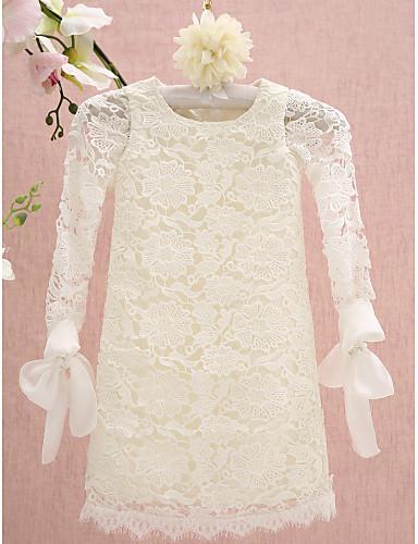 Sütun Taşlı Yaka Diz Boyu Dantelalar Dantel ile Çiçekçi Kız Elbisesi tarafından LAN TING BRIDE®