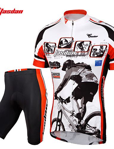 cheap Cycling Clothing-TASDAN Men's Short Sleeve Cycling Jersey with Shorts - Black Bike Shorts Jersey Clothing Suit Breathable 3D Pad Quick Dry Reflective Strips Back Pocket Sports Painting Mountain Bike MTB Road Bike