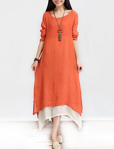 Kadın's Çin Stili Pamuklu A Şekilli / Salaş Elbise - Solid, Katmanlı Maksi / Bahar / Sonbahar
