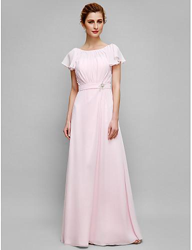 9bb058b1d826 Ίσια Γραμμή Scoop Neck Μακρύ Σιφόν Φόρεμα Μητέρας της Νύφης με Κρυστάλλινη  λεπτομέρεια   Που καλύπτει με LAN TING BRIDE®