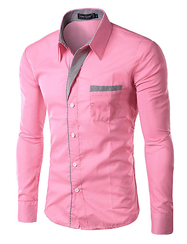 Men's Work Business Plus Size Slim Shirt - Solid Colored Basic Classic Collar / Long Sleeve / Spring / Fall
