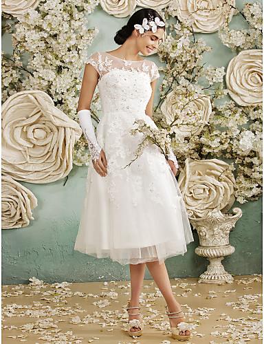 levne Svatební šaty-A-Linie Scoop Neck K lýtkům Krajka přes tyl Svatební šaty vyrobené na míru s Aplikace podle LAN TING BRIDE® / Malé bílé