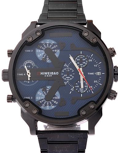 Homens Relógio de Pulso Quartzo Impermeável Aço Inoxidável Banda Preta