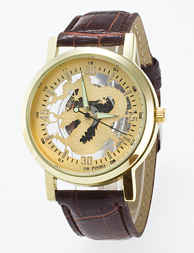 Mulheres Relógio Esqueleto Relógio de Moda Quartzo Gravação Oca PU Banda Preta Marrom