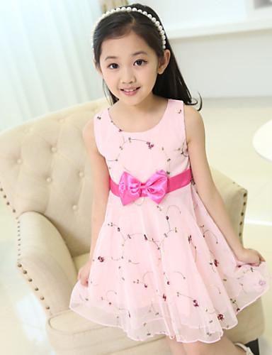 Mädchen Kleid Baumwolle Sommer Ärmellos Blumig Schleife Weiß Rosa