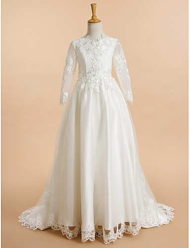 A-Line Sweep / Brush Train Flower Girl Dress - Lace / Tulle Long Sleeve V Neck with Appliques by LAN TING BRIDE®