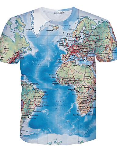 Homens Camiseta - Esportes Estampado / Manga Curta