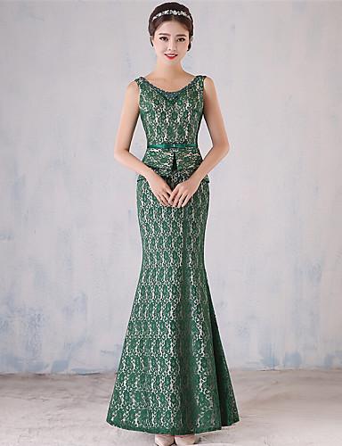 שמלת ערב רשמית - חצאית בהשראת וינטאג '/ בתולת הים לולאת תחרה באורך הרצפה עם פירוט פנינה