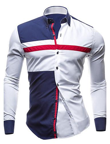Herrn Einfarbig Übergrössen Baumwolle Hemd, Klassischer Kragen Schlank Blau & Weiß