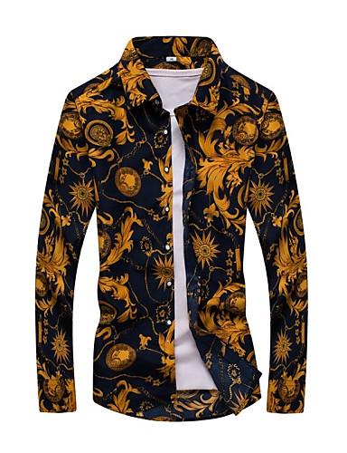 cheap Men's Clothing-Men's Vintage Plus Size Cotton Slim Shirt - Tribal Print Classic Collar / Long Sleeve / Spring / Fall