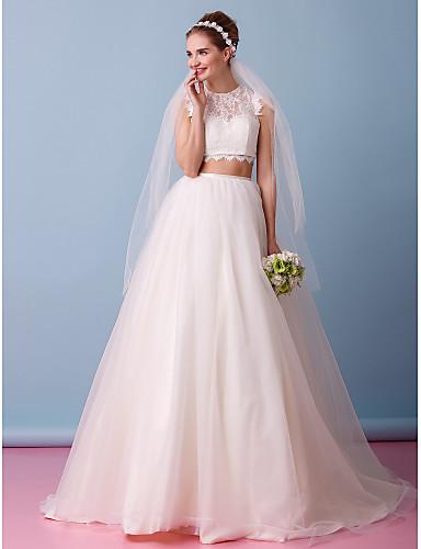 A-Şekilli İki Parça Illüzyon boyun çizgisi Uzun Kuyruk Dantelalar Tül Dantel ile Düğün elbisesi tarafından LAN TING BRIDE®
