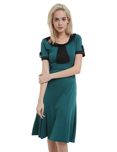 Sukienka - Obuwie damskie Do kolan - Krótki rękaw - Okrągły dekolt