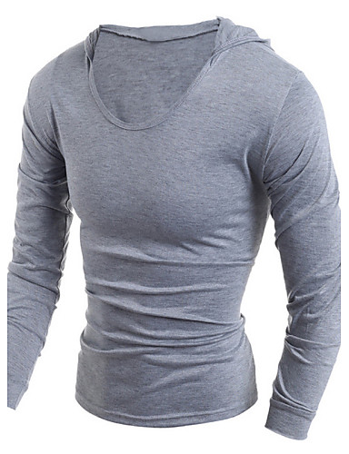 Herrn Solide Sport Baumwolle T-shirt, Mit Kapuze / Langarm