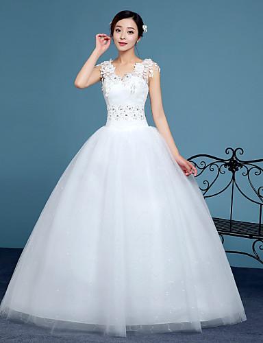 A-Linie V-Ausschnitt Boden-Länge Spitze Tüll Hochzeitskleid mit Kristall Verzierung Spitze durch QQC Bridal